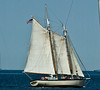 Gaff rigged two masted sloop.